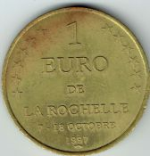 France, One Euro Cities Token (Rochelle) 1997, VF, T1096